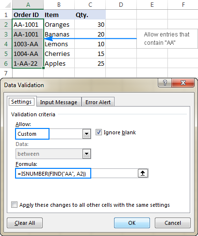 Data validation to allow entries containing certain text