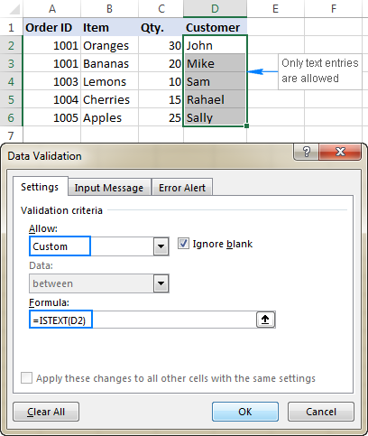 A custom data validation rule to allow text only