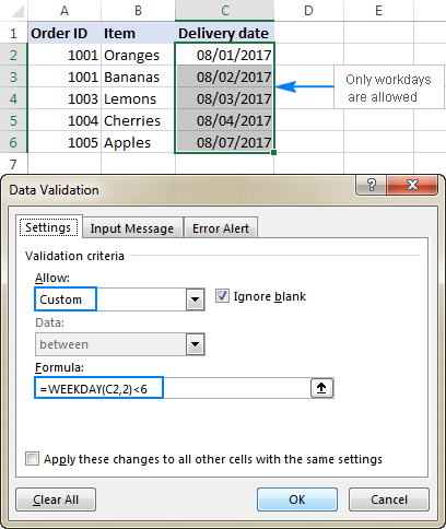 Validation rule to allow only workdays