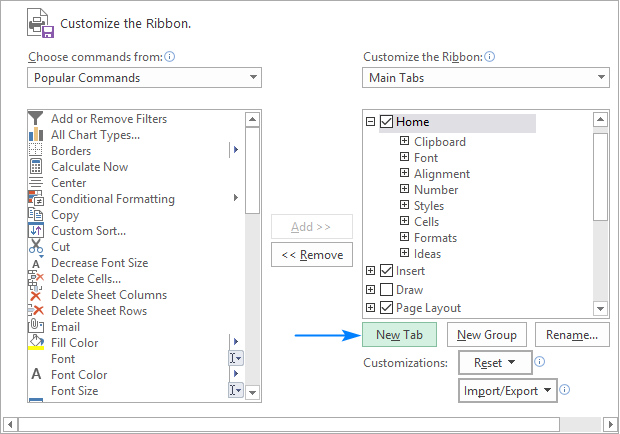 Create a new tab for the ribbon.