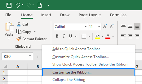 Customize ribbon in Excel.