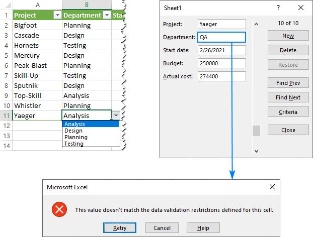 Danh sách thả xuống không có sẵn trên các biểu mẫu nhập dữ liệu.