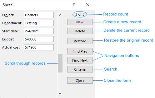 Các nút của biểu mẫu nhập Excel