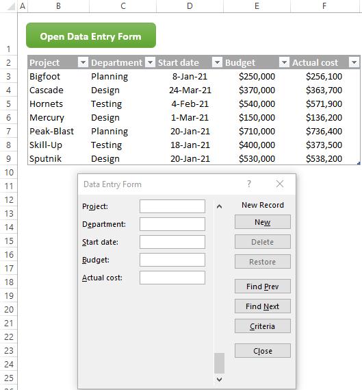 Mở biểu mẫu nhập dữ liệu bằng VBA