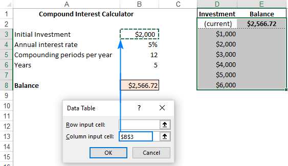 Creating a data table in Excel
