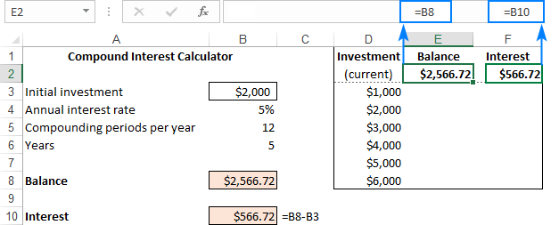 Making a data table to evaluate multiple formulas