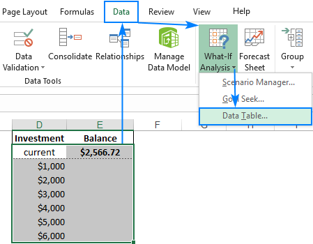 What-If Analysis Data Table in Excel