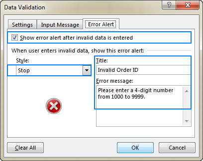 Setting up a data validation error alert