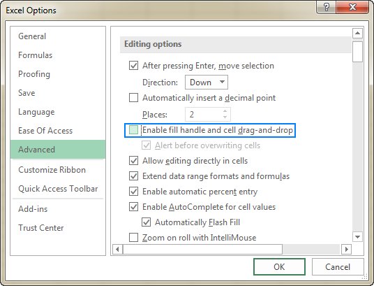 Disable copying data by dragging and dropping cells.