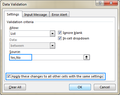 Editing data validation in Excel