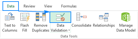 Open the Data Validation dialog box.