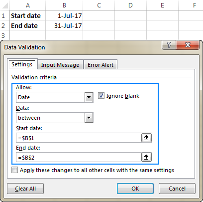Date validation in Excel