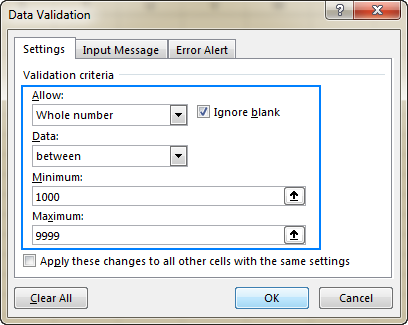 Excel data validation rule that allows only whole numbers between 1000 and 9999