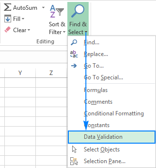 Finding cells with data validation in Excel