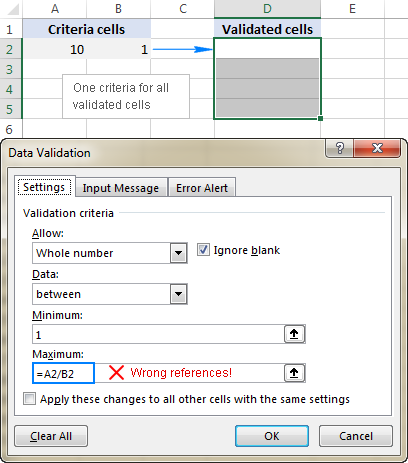 Incorrect cell references in a data validation formula
