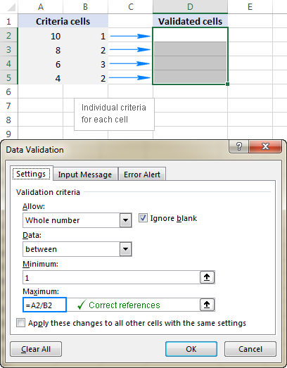 Correct cell references in a data validation formula