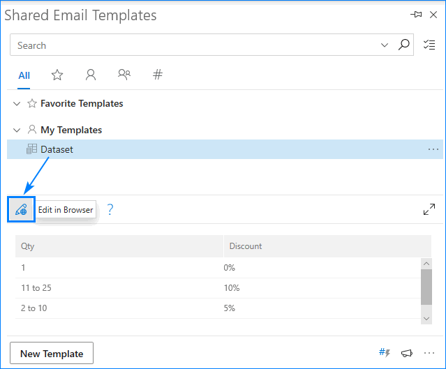 How to edit a dataset in Shared Email Templates.