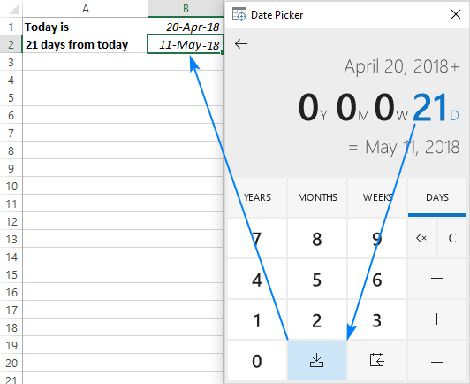 30/60/90 days from today or before today - date calculator in Excel