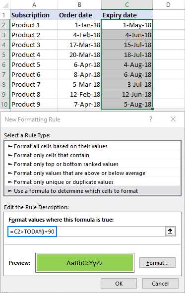 Creating a conditional formatting rule to highlight dates 90 days from today