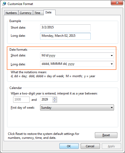 Setting the custom date and time formats