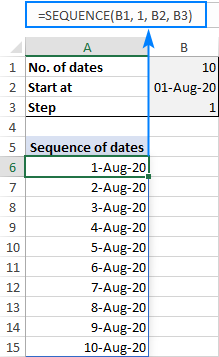 Creating a sequence of dates in Excel with a formula