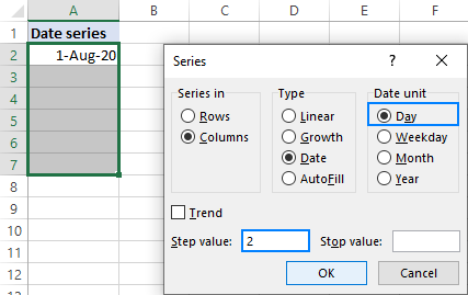 Fill a series of dates with a specific step.