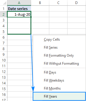 Auto fill a series of years in Excel.