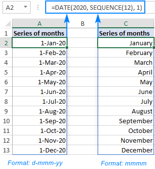 Generating a sequence of months in Excel