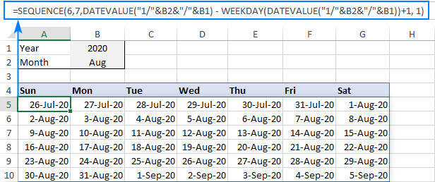 Formula to create a monthly calendar in Excel