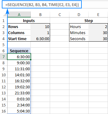 Formula to create a time sequence in Excel with any increment step size