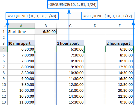 Generating a sequence of times in Excel