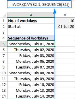 Making a series of workdays in Excel with a formula