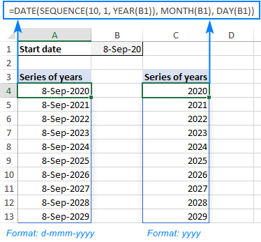 A formula to output a year sequence in Excel