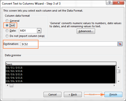 Converting dates to text format using the Convert Text to Columns Wizard