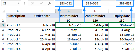 Find 90, 120 and 180 days from date with one formula