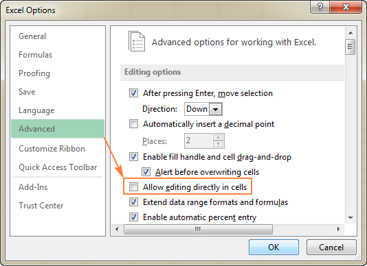 The formula bar uncheck the allow editing directly in cells option