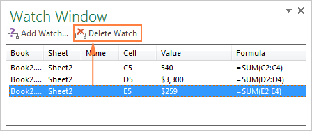 Click the Delete Watch button to remove a cell from the Watch Window.
