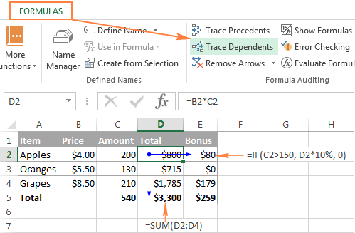 click the Trace Dependents button to show formulas that reference the selected cell.