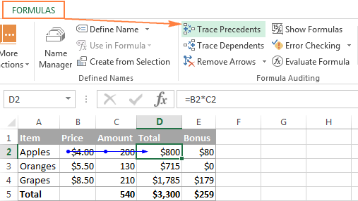 Click the Trace Precedents button to show cells that supply data for a selected formula.