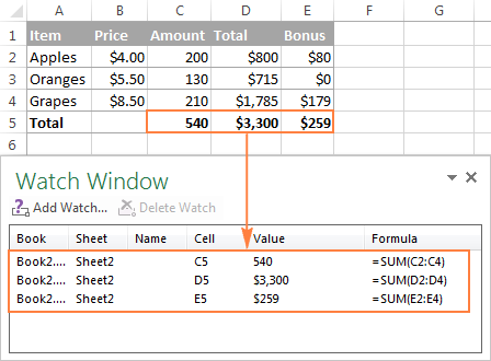 Use Excel's Watch Window to monitor the key formulas in a workbook.