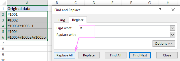 Removing a given character from multiple cells