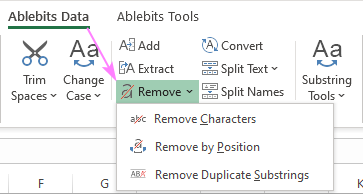 Special tools to remove characters and text in Excel