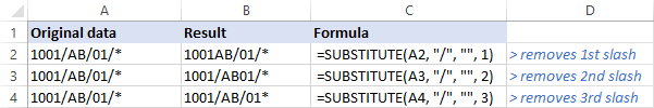 Formula to remove th instance of a specific character