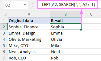 Formula to remove everything after a specific character