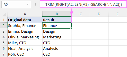 Formula to remove everything before a certain character