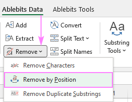 Remove text by position