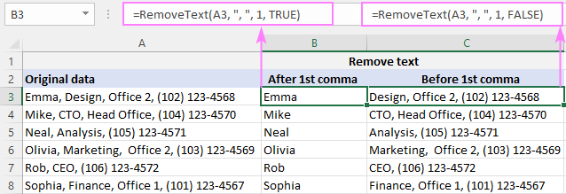 Custom function to remove text before or after a specific character
