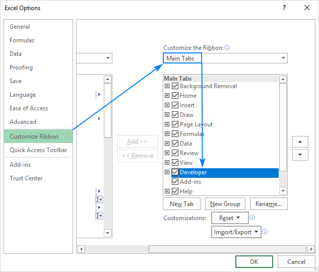 Adding the Developer tab in Excel