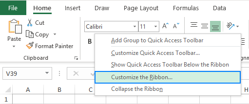 Customize the Ribbon…