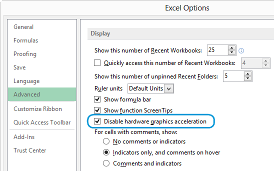 How to disable animation in Excel 2016, 2013, 2010